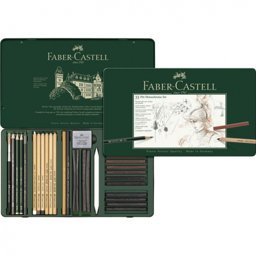 Estojo Monocromático Pitt Grande - 33 Peças - Faber-Castell