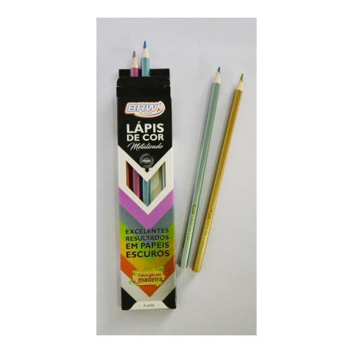 Lápis de cor metalizado 6 cores