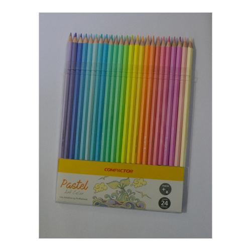 Lápis de Cor tons pastéis 24 cores Compactor