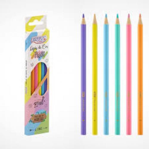 Lápis de cor tons pastéis 6 cores